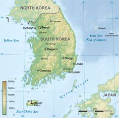 Physical Map Of North Korea Ezilon Maps East Asian Federation - Korean map
