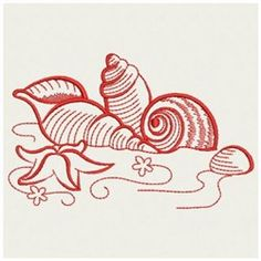 Wind Bell Embroidery Embroidery Design: Redwork Seashell 3.81 inches H x 2.39 inches W