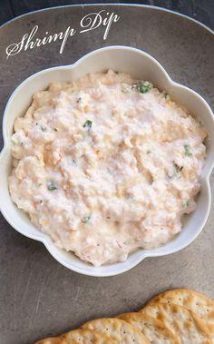 Shrimp Dip ~ Easy shrimp dip with small pink shrimp, lemon zest and lemon juice, scallions, parsley, hot sauce, pepper, cream cheese and a little mayo. ~ SimplyRecipes.com