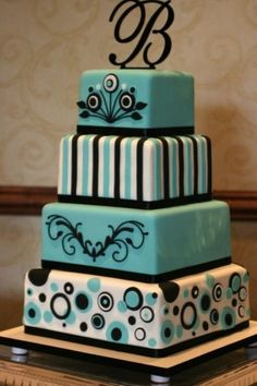 """alexia dives posted Tiffany Wedding Cakes ~ Audrey Hepburn was one of the most fabulous style icons ever. The very stylish feeling of """"Breakfast at Tiffany's"""" makes it an ideal source of inspiration for your wedding. to their -wedding cakes- p. Gorgeous Cakes, Pretty Cakes, Cute Cakes, Amazing Cakes, Black Square Wedding Cakes, Tiffany Wedding Cakes, Tiffany Cakes, Decoration Patisserie, Fancy Cakes"""
