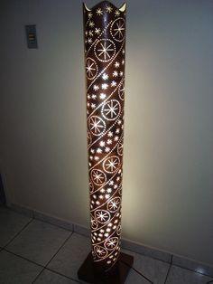 PVC lamp  http://www.luartscriacoes.com.br/products/Coluna-de-luz-de-pvc-com-coador.html