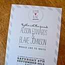 A5 invitation in grey on white card