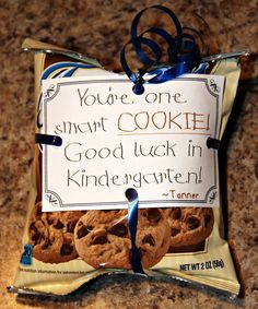 """Classmate End of Year Gifts """"You're one smart cookie! Good luck in Kindergarten! - Classmate End of Year Gifts """"You're one smart cookie! Good luck in Kindergarten! End Of Year Party, End Of School Year, Beginning Of School, School Fun, School Stuff, School Daze, High School, Preschool Gifts, Preschool Graduation Gifts"""