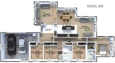 New Zealand house floor plans - Home & DIY Garage Bedroom, 4 Bedroom House Plans, Dream House Plans, House Floor Plans, Computer Nook, Galley Style Kitchen, New Zealand Houses, Bedroom With Ensuite, Master Bedroom