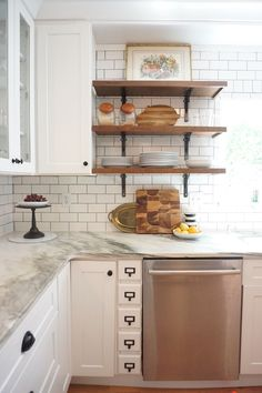 Vintage Kitchen Remodel White Shaker Cabinets Marble Countertops Subway Tile And