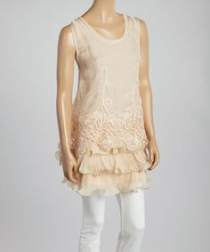Loving this Pretty Angel Caramel Lace Silk-Blend Tiered Tunic on #zulily! #zulilyfinds