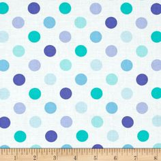 "Moda Grow Full Bloom Dots Cloud Blues from @fabricdotcom  Designed by Me & My Sister Designs for Moda, this cotton print fabric is part of the ""Grown"" collection. Use for quilting and craft projects as well as apparel and home décor accents. Colors include white and shades of blue."