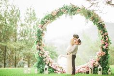 Pernikahan outdoor rustic garden party di bandung the bride dept gerry and devinas engagement with a giant floral wreath at pine forest bandung junglespirit Images