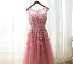 Lovely Handmade Pink Tulle Knee Length Short Prom