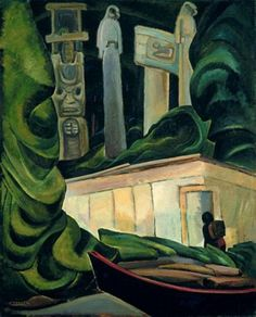 Emily Carr, contemporary of the Group of Seven - Indian Hut, Queen Charlotte Islands, Canadian Group of Seven Tom Thomson, Canadian Painters, Canadian Artists, Matisse, Emily Carr Paintings, Art Inuit, Group Of Seven Paintings, Impressionist Paintings, Native American Art
