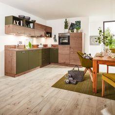 Eckküche in Olive und Steineiche online bestellen Manhattan, Corner Desk, Furniture, Home Decor, Exhaust Hood, Olives, Drawers, Oak Tree, Stones