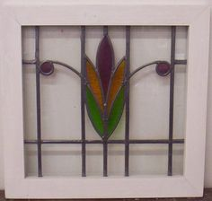 "OLD ENGLISH LEADED STAINED GLASS WINDOW Flower Design 20"" x 19.25"""