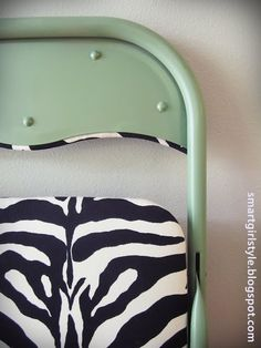 folding chair makeover w/fabric & paint.  great step by step / many possibilities