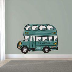 Muursticker dubbeldekker bus - petrol