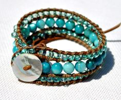 By The Sea - Triple Layer Single Wrap Leather Beaded Bracelet.  Such a great price!!!