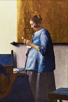 Woman in Blue - Jan Vermeer van Delft @Aimee Cass. U need to pin this