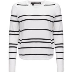 360 SWEATER Oakland Striped Sweater - White & Black ($99) ❤ liked on Polyvore featuring tops, sweaters, shirts, jackets, jumper, black and white stripe shirt, black and white stripe top, striped sweater, black and white shirt and black and white sweater
