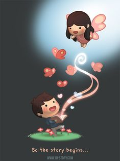HJ-Story :: Story Begins.siamo a metà strada Love Cartoon Couple, Cute Love Cartoons, Love Couple, Chibi Couple, Hj Story, Cute Love Stories, Love Story, Anime Chibi, Ah O Amor
