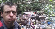 Adam Short found a huge amount of rubbish - including a full car engine - during the week of his trip