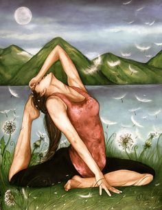 Yoga, Watercolor  Love this persons work! :)        yoga art print by Claudia Tremblay water by PrintIllustrations
