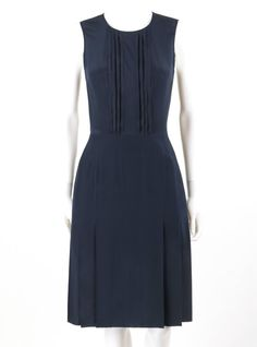 PRADA Navy Blue Silk Sleeveless Pleated Shift Cocktail Dress | From a collection of rare vintage evening dresses and gowns at https://www.1stdibs.com/fashion/clothing/evening-dresses/