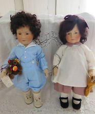 R,John Wright felt dolls William & Elizabeth Earliest Little Children RARE LOW #