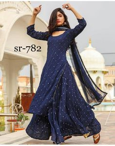 Salwar Suits: Buy Online Latest Designer Salwar suits and Kameez Sarara Dress, The Dress, Indian Attire, Indian Outfits, Anarkali Dress, Lehenga Choli, Sharara, Pakistani Lehenga, Choli Dress