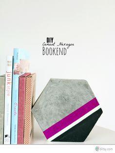DIY Cement Hexagon Bookends