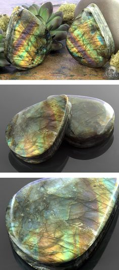 Labradorite teardrop plugs — my soul just exploded.