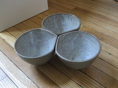 set of 3 bowls with corners for pouring from Good Elephant Pottery
