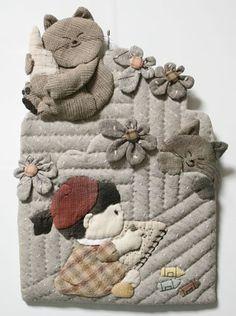 Cute cute Patchwork Quilt Patterns, Patchwork Bags, Applique Quilts, Embroidery Applique, Japanese Patchwork, Japanese Quilts, Cat Quilt, Doll Quilt, Tree Quilt