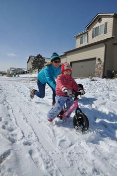 Strider Fun with ski attachment.  This makes the STRIDER bike a year round ton of fun!