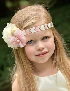 Pink Gold Headband Gold Baby Headband Flower by KennasKlippiesBows