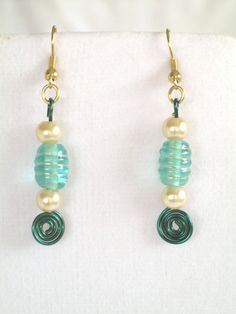 Green Glass Bead Earrings Wire Wrapped Dangle by 2012BellaVida, $10.00 #etsysns #rt #boebot2