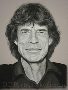 """Mick Jagger"" realistic portrait drawing made with pastelpencils"