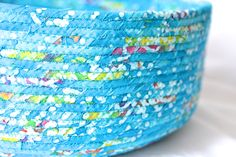 Turquoise Cat Bed, Handmade Coiled Fabric Basket, Caribbean Blue Pet Bed, Tropical Blue Fabric Basket,  Aqua Blue Decor, Storage Basket - pinned by pin4etsy.com