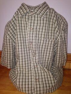 Eddie Bauer Size Small Checkered Shirt Olive Button Down #EddieBauer #ButtonFront