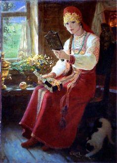 'By The WINDOW', by Yevgeniy Demakov (Russian) | RUSSIAN KITSCH
