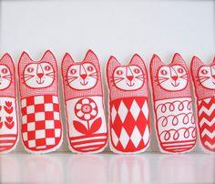 Screen Printed Scandinavian Toy Kit To Make 6 x Cats por Janefoster, $32.00