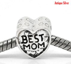 Antique Silver BEST MOM Charm Beads  Fits by CharmingTreasures2, $1.65