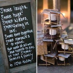 what a sweet idea for s'mores favors! a great sign to go with, and thanks s'more tags attached.  Read more about this DIY and more from this vintage country chic wedding from intertwined events | britt rene photo