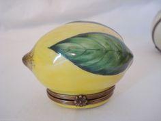 Limoges Trinket Box Lemon Fruit Rochard France Ring Flower Clasp Porcelain