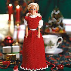 Crochet fashion doll holiday dress pattern