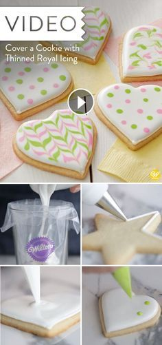 make royal icing covered cookies with crisp outlines/icing that dries smooth&hard finish/ part 2 of series Sugar Cookie Royal Icing, Iced Sugar Cookies, Recipe For Royal Icing For Sugar Cookies, Homemade Cookie Icing Recipe, Hard Icing For Cookies, Iced Sugar Cookie Recipe, Royal Icing Decorated Cookies, Royal Frosting, Royal Icing Piping
