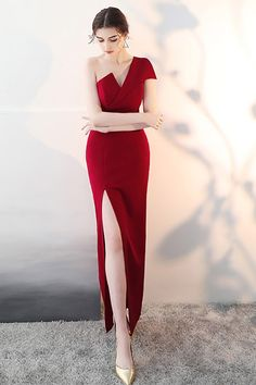 f62b4ea598 Sexy One Shoulder Burgundy Fitted Formal Dress with Slit  HTX86001 -  GemGrace.com