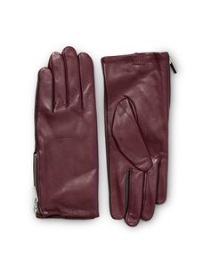 PISSARRO GLOVES-Women's gloves in nappa leather. Features zip detail and contrast coloured piping. Fleece lining at inside. Embossed Tiger of Sweden logo. Women's Gloves, Tiger Of Sweden, Contrast, Zip, Logo, Detail, Leather, Headboard Cover, Gloves