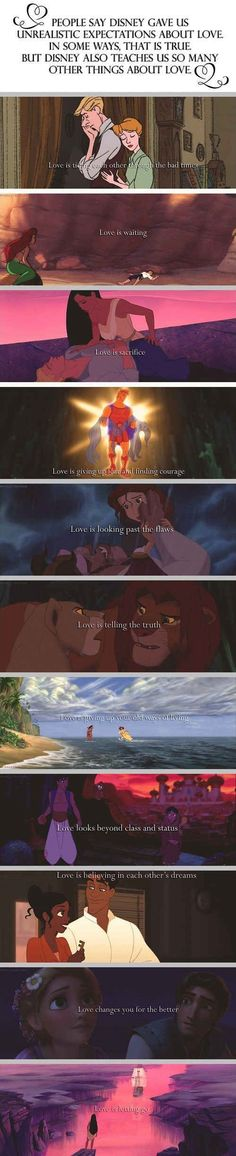 I can't believe people think Disney sets up impossible expectations of love. It's not Disney, it's people who can't see the beauty in the tales Disney animated. These tales are far older than Disney. Disney Pixar, Disney Magic, Disney Amor, Deco Disney, Arte Disney, Disney And Dreamworks, Disney Love, Disney Stuff, Disney Quotes About Love
