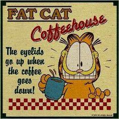 Fat Cat Coffeehouse. the eyelids go up when the coffee goes down! Garfield