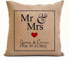 Mr Mrs Pillow Est Date Burlap Pillow Monogrammed by AmoreBeaute