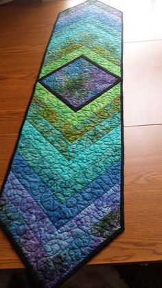 "Quilted Braided Table Runner; 58"" x 13"", All Batik Fabric Top, Green, Teal, Blue, Purple, Quilted Table Runner, Table Runner"